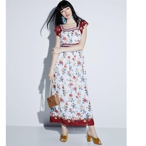 Max Studio floral flutter sleeve maxi dress S